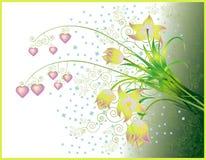 De groetkaart van valentijnskaarten met boeket Stock Afbeelding