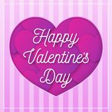 De groetkaart van de valentijnskaartendag met gelukwensteken op achtergrond met harten roze kleur Royalty-vrije Stock Foto's