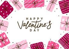 De groetkaart van de valentijnskaartendag met giften stock afbeelding