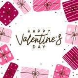 De groetkaart van de valentijnskaartendag met giften stock foto
