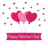 De groetkaart van de valentijnskaartendag met hartenballons royalty-vrije stock foto's
