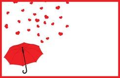 De groetkaart van de valentijnskaartendag met kader, rode paraplu en dalende regen van harten Stock Foto