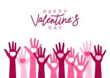 De groetkaart van de valentijnskaartendag met omhoog handen stock afbeeldingen