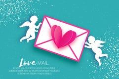 De Groetkaart van de valentijnskaartendag met upids - het vliegen engelen royalty-vrije illustratie