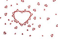 De groetkaart van Valentine ` s met rode harten Royalty-vrije Stock Fotografie