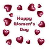 De groetkaart van de vrouwens dag met roze en omvangrijke harten op witte achtergrond Vector illustratie royalty-vrije illustratie