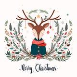 De groetkaart van Webkerstmis met herten en decoratieve seizoengebonden takken Stock Afbeeldingen