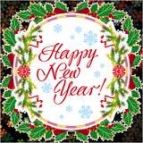 De groetkaart van de de wintervakantie met Kerstmisdecoratie en artistieke geschreven teksten ` Gelukkig Nieuwjaar! ` vector illustratie