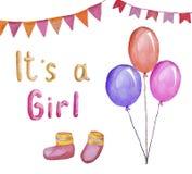 De groetkaart voor een pasgeboren baby, het is een meisje, waterverfillustratie royalty-vrije illustratie