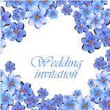 De groetkaart, waterverf, kan als uitnodigingskaart voor huwelijk, verjaardag en andere vakantie en de zomerachtergrond worden ge Stock Fotografie