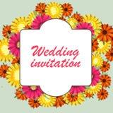 De groetkaart, waterverf, kan als uitnodigingskaart voor huwelijk, verjaardag en andere vakantie en de zomerachtergrond worden ge Royalty-vrije Stock Foto