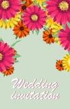De groetkaart, waterverf, kan als uitnodigingskaart voor huwelijk, verjaardag en andere vakantie en de zomerachtergrond worden ge Royalty-vrije Stock Afbeelding