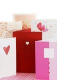 De groetkaarten van de Dag van de valentijnskaart Stock Foto