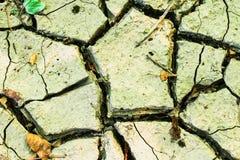 De grond van de barst op droog seizoen, Globaal worming effect royalty-vrije stock afbeeldingen