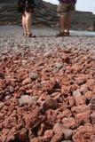 De grond van de steenlava in Lanzarote Stock Foto's