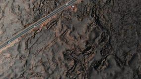 De grondoppervlakte bedekte bevroren lavasatellietbeeld met een laag stock footage