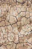 De grondoppervlakte is droog en barstte Stock Afbeelding
