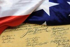 De grondwet van de de handtekeningsv.s. van John Hancock Royalty-vrije Stock Foto's