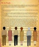 De grondwet van de V.S. met personen Stock Foto's