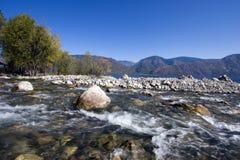 De groot rivier van de Spaanse peper en meer Teletskoe royalty-vrije stock afbeelding