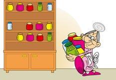 De grootmoeder bereidt jam voor stock illustratie