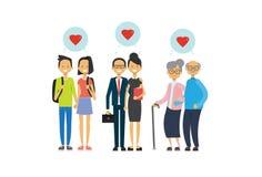 De grootmoeder en de grootvader, de ouder en de tienerjaren koppelen in liefde, multigeneratiefamilie, volledige lengteavatar op  royalty-vrije illustratie