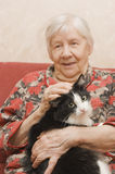 De grootmoeder met een kat stock afbeeldingen