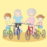 De grootouders berijden fiets met kleinkinderen stock illustratie