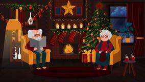 de grootouders zitten door de open haard bij Kerstmis royalty-vrije illustratie
