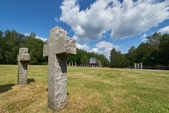 De grootste begraafplaats van Duitse militairen in Polen, Siemianowice ÅšlÄ… skie Royalty-vrije Stock Afbeelding