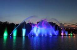 De grootste fontein op de rivier werd geopend in Vinnytsia, de Oekraïne Stock Foto