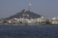 De grootste Indische nationale die vlag in de wereld in Ranchi wordt gehesen stock afbeelding