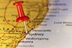 De grootste stad van Sydney in Australië, kaart Stock Foto's