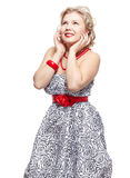 De grootte van de blonde plus model stock fotografie