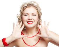 De grootte van de blonde plus model royalty-vrije stock foto