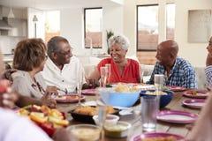 De grootvader een toost maken die zich bevindt bij het diner het vieren met zijn familie indienen, sluit omhoog royalty-vrije stock afbeeldingen