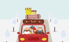 De grootvader, de grootmoeder, de kleinzoon en de kleindochter gaan naar Kerstmisvakantie stock illustratie