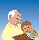 De grootvader vertelt zijn kleinzoon een verhaal Royalty-vrije Stock Foto's
