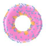 De grote Aardbeiroze Verglaasde Doughnut met Blauw bestrooit 3D renderi Royalty-vrije Stock Foto's