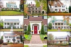 De grote Amerikaanse Collage van de Huizen van de Luxe Stock Afbeelding