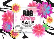 De grote banner van de de lenteverkoop met kleurrijke bloem vector illustratie