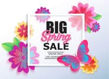De grote banner van de de lenteverkoop met kleurrijke bloem royalty-vrije illustratie