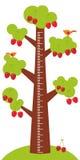 De grote boom met groene bladeren en de rijpe rode kers op witte achtergrondkinderenhoogte meten muursticker, jonge geitjesmaatre Stock Foto's