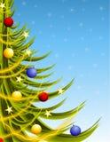 De grote Boom van Kerstmis op Blauw Stock Fotografie
