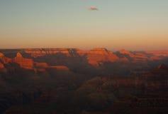 De grote canion van de zonsondergang Stock Afbeeldingen