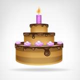 De grote chocolade verglaasde geïsoleerde cake Stock Afbeeldingen