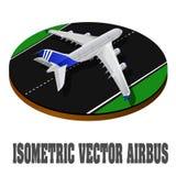 De grote 3d isometrische illustratie van het passagiersvliegtuig Vlak hoog - kwaliteitsvervoer Voertuigen die worden ontworpen om Stock Foto's