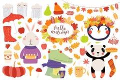De grote die herfst met leuke dieren wordt geplaatst stock illustratie
