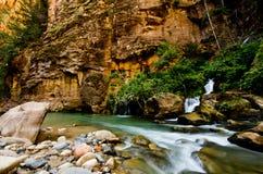 De grote die Lente in Zion Canyon, tijdens wordt genomen versmalt stijging in Zion Stock Fotografie
