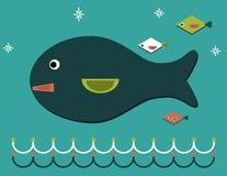 De grote die vis zwemt op de golven, door kleine vissen worden gevolgd stock illustratie